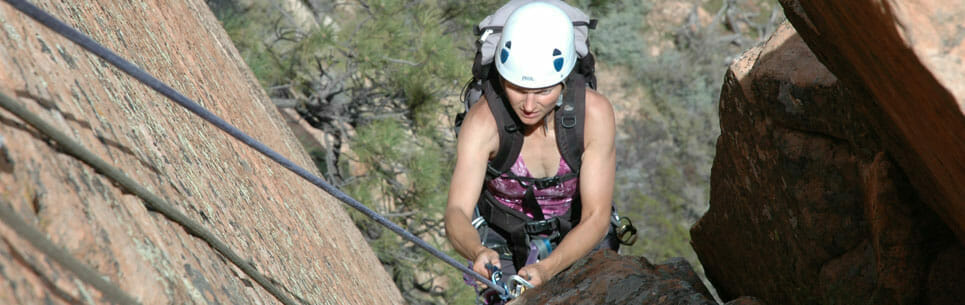 Person During Full Day Climbing Adventure
